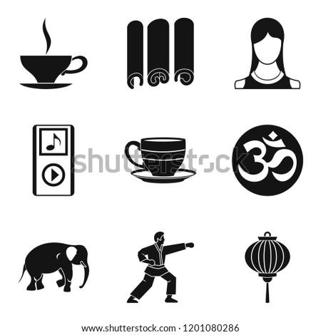 Spiritual equilibrium icons set. Simple set of 9 spiritual equilibrium icons for web isolated on white background