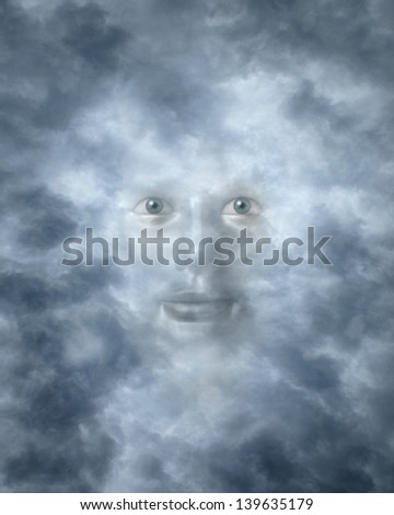 Spiritual faces peering through clouds possibly a god or deity