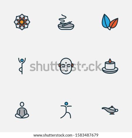 Spiritual icons colored line set with relaxation, meditation, mandala yoga elements. Isolated illustration spiritual icons.