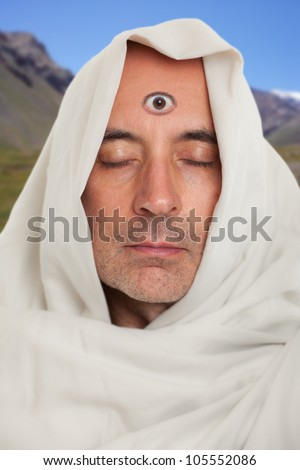 Spiritual Man With A Third Eye On Forehead Stock Photo ...