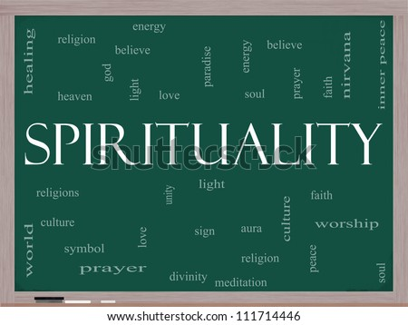 Spirituality Word Cloud Concept on a Blackboard with great terms such as religion, light, prayer, soul and more.