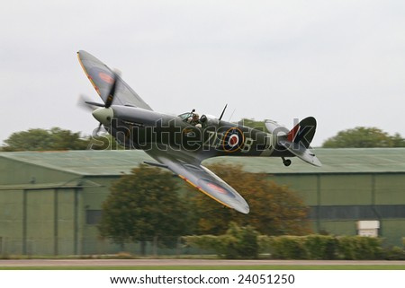 Spitfire world war two fighter flown by Ray Hanna.