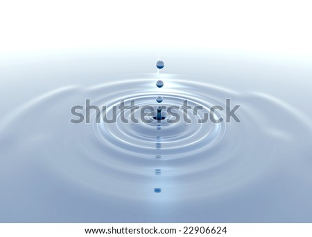 Splash and ripples on crystal clear water
