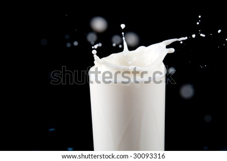 Splash in a milk glass
