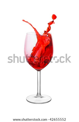 Splash in a red wine glass isolated