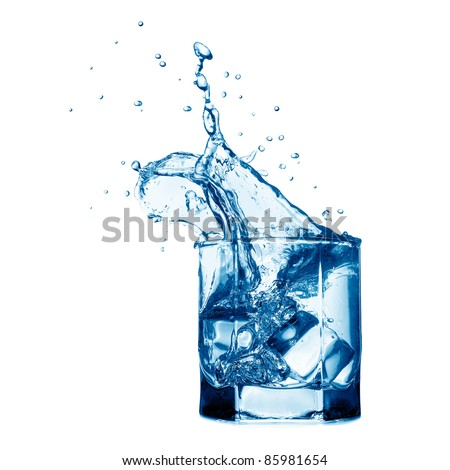 Splash in the glass with water