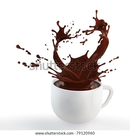 splash of brown hot chocolate in white porcelain cup