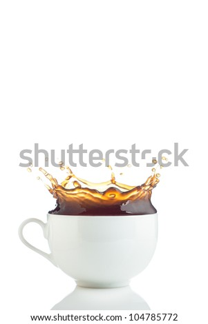 Splash of coffee in white cup isolated
