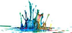 Splash of color ink on white background