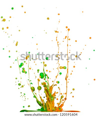 Splash of colorful liquid iolated on white background