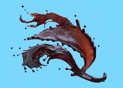 splash of liquid coffee isolated on blue background