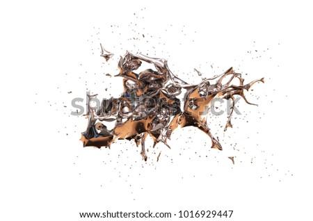 Splash of mercury on a white background. 3D illustration