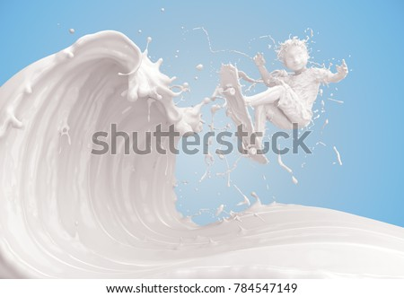 Splash of milk in form of Boy's body to ride skateboard on wave of milk, Boy jump, with clipping path. 3D illustration.