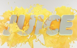 Splash of pineapple, banana or mango juice. Juicy fruity yellow drink 3d with word JUICE capital letters on white background. Frozen stream of cold liquid and droplets lemonade, illustration, ad text