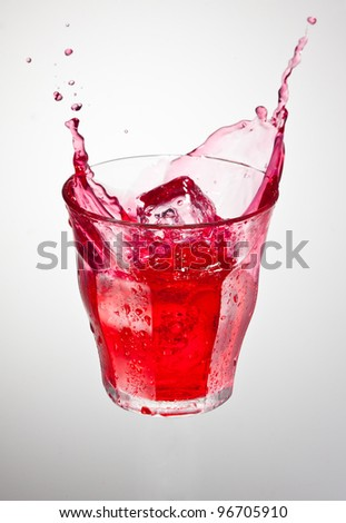 splash of red cranberry carbonated drink
