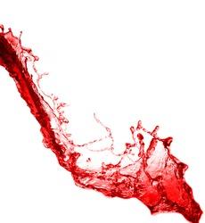 splash of red wine on a white background