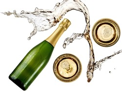 Splash over champagne bottle and two glasses