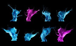 Splash paint collection isolated on black background