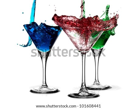 Splash red, green and blue cocktails