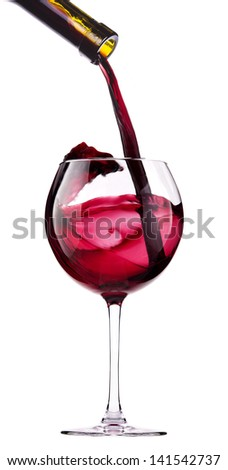 Splash red wine  against a white background