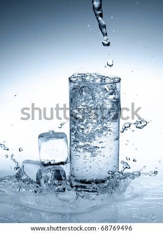 Splash water in a glass