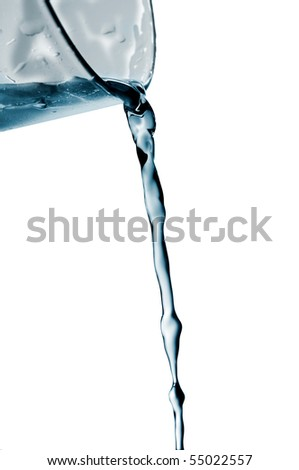 splash water out of a crystal glass on a white background