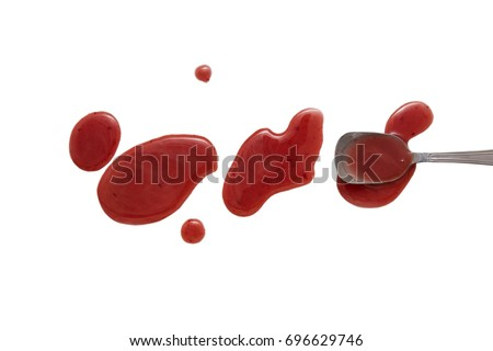 splashes and spilled berry vinegar with a spoon. isolated on white background. flat lay, top view