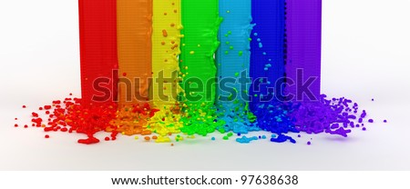 splashes color paint as a rainbow