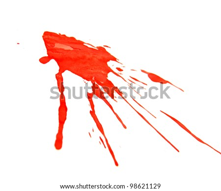 Splashes of a red paint. On a white background.