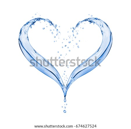 Splashes of water in the shape of the heart on white background