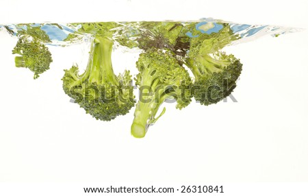 splashing broccoli into water