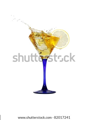 Splashing cocktail with ice and lemon isolated on white background with clipping path