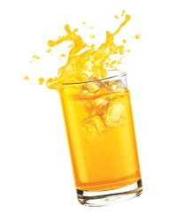 Splashing orange juice with ice cube