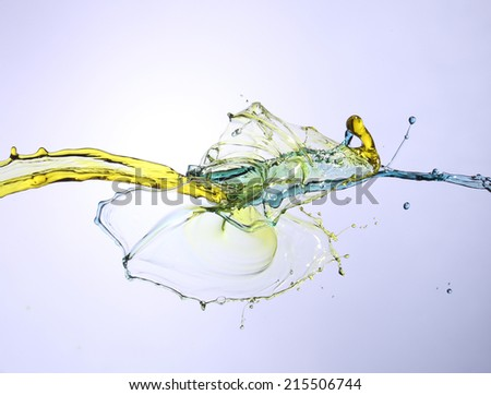 splashing paint in blue and yellow