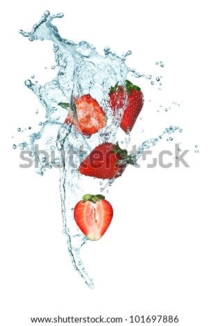 Splashing Strawberry into a water - stock photo
