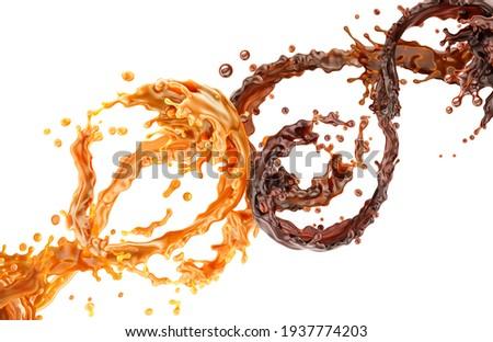 Splashing swirl chocolate and caramel liquid flow isolated on white background. Bitter sweet chocolate sauce, melt gold caramel syrup swirl splash. Chocolate, melted butterscotch waves 3d illustration
