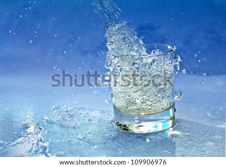 Splashing water from glass