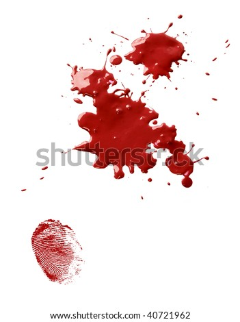 Splatter stains of dripping red blood and a thumb fingerprint