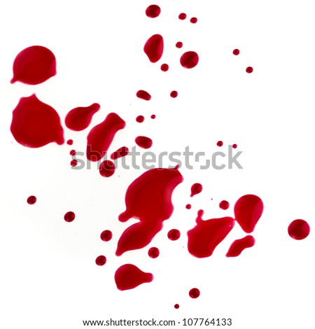 Splattered blood stains isolated on a white background
