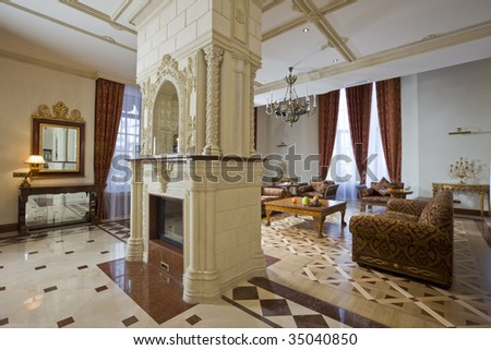 splendid  drawing room with luxurious fireplace