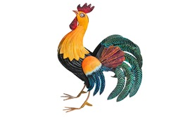 Splendid tin rooster sculpture. Colorful crafted rooster with feathered tail.