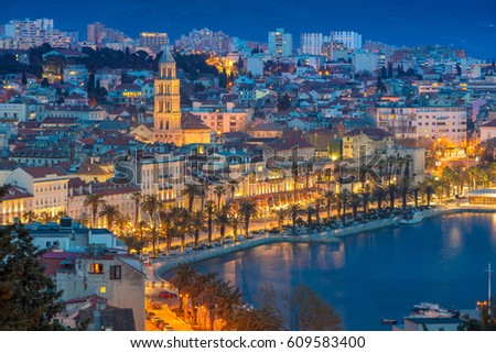 Split. Beautiful romantic old town of Split during twilight blue hour. Croatia,Europe.