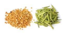 Split Chickpeas & Cluster Beans Vegetable Isolated on White Background