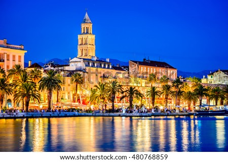 Split, Croatia. Amazing Split city waterfront panorama at night, Dalmatia, Europe. Roman Palace of the Emperor Diocletian and tower of Saint Domnius cathedral.