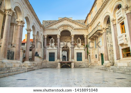 Split, Croatia, early morning at the peristyle or peristil inside palace of Roman Emperor Diocletian