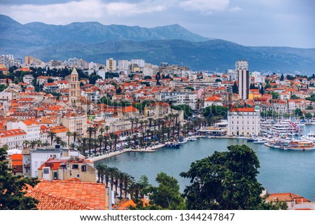 Split, Croatia (region of Dalmatia). UNESCO World Heritage Site. Diocletian Palace and Mosor mountains in background. Split panoramic view of town, Dalmatia, Croatia.