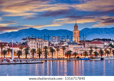 Split, Croatia. View of Split the second largest city of Croatia at night. Shore of the Adriatic Sea and famous Palace of the Emperor Diocletian. Traveling concept background. Mediterranean countries.