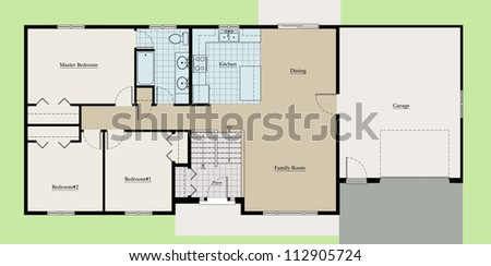 Split Level House Floor Plan Colored With Room Names And
