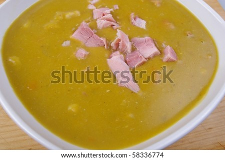 split pea and ham soup overhead close up in bowl