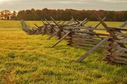 Split rail fence in an autumn meadow at Gettysburg National Military Park, Pennsylvania, USA